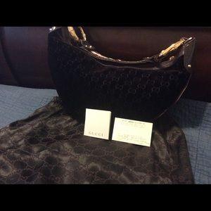 33bdce2acb36 Gucci Purple Monogram Velvet & Lizard Hobo Bag